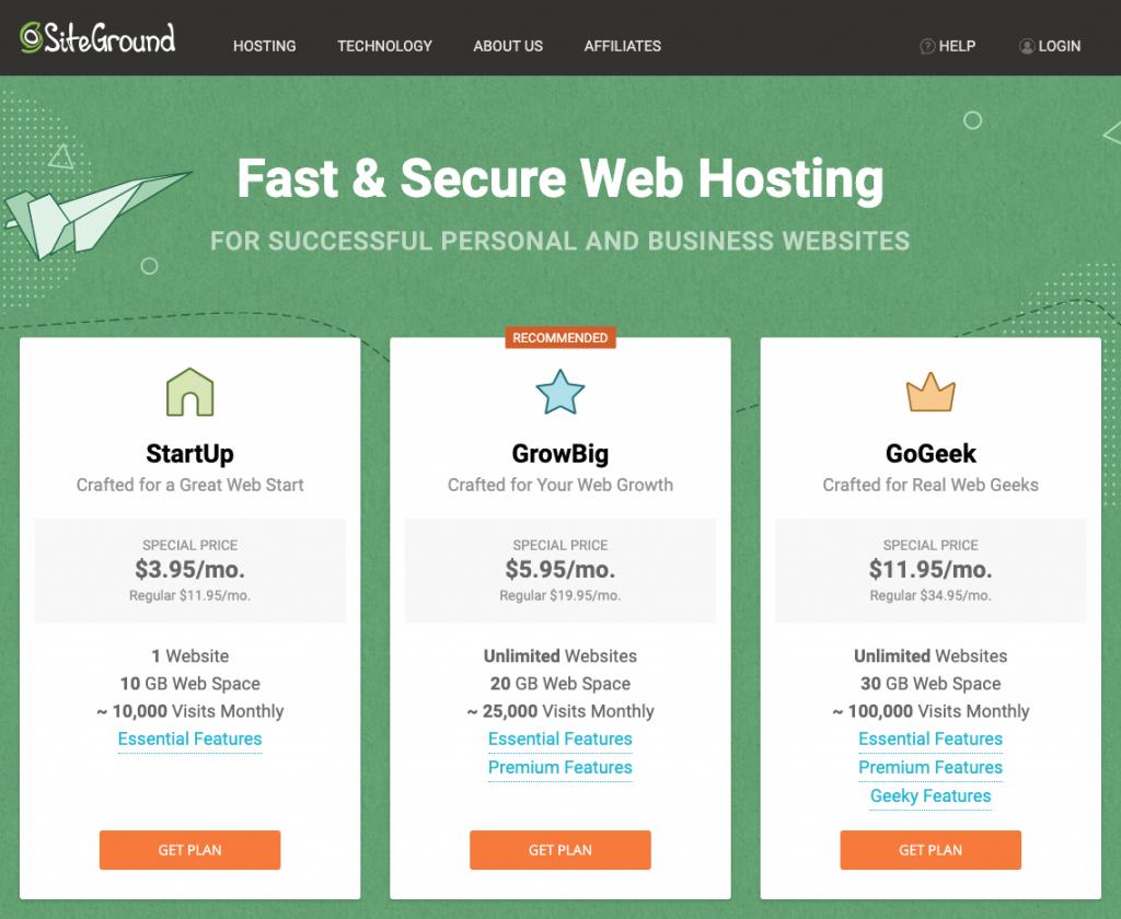 Step 1 of choosing a hosting plan