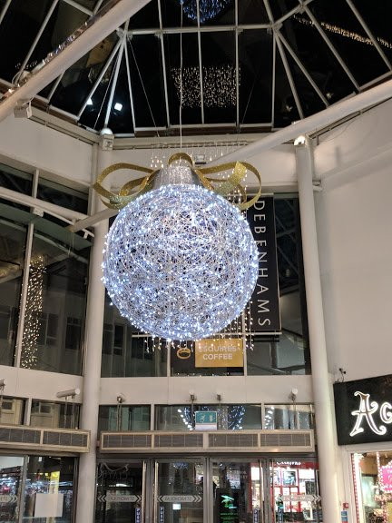 Christmas bauble in shopping centre