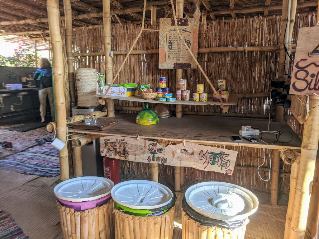 Recycling bins in the kitchen at Basata eco-lodge