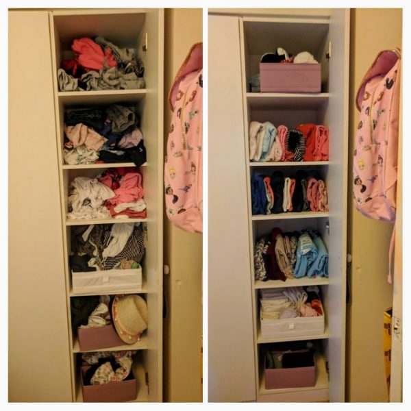 Before and after wardrobe declutter