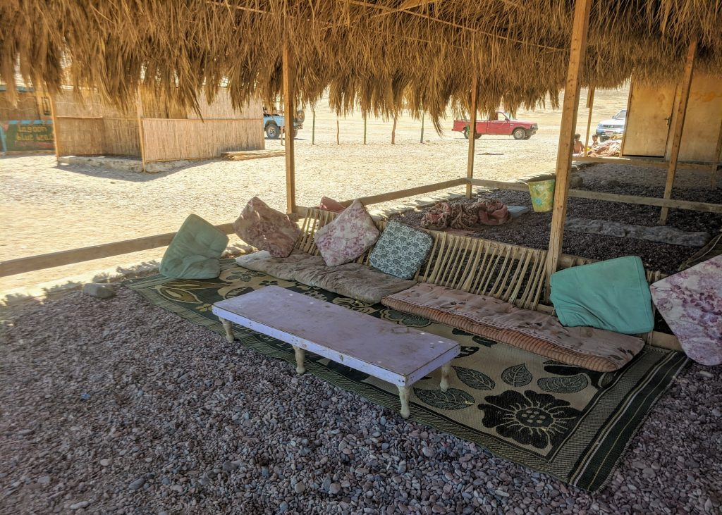 Bedouin style seating on the Blue Lagoon beach