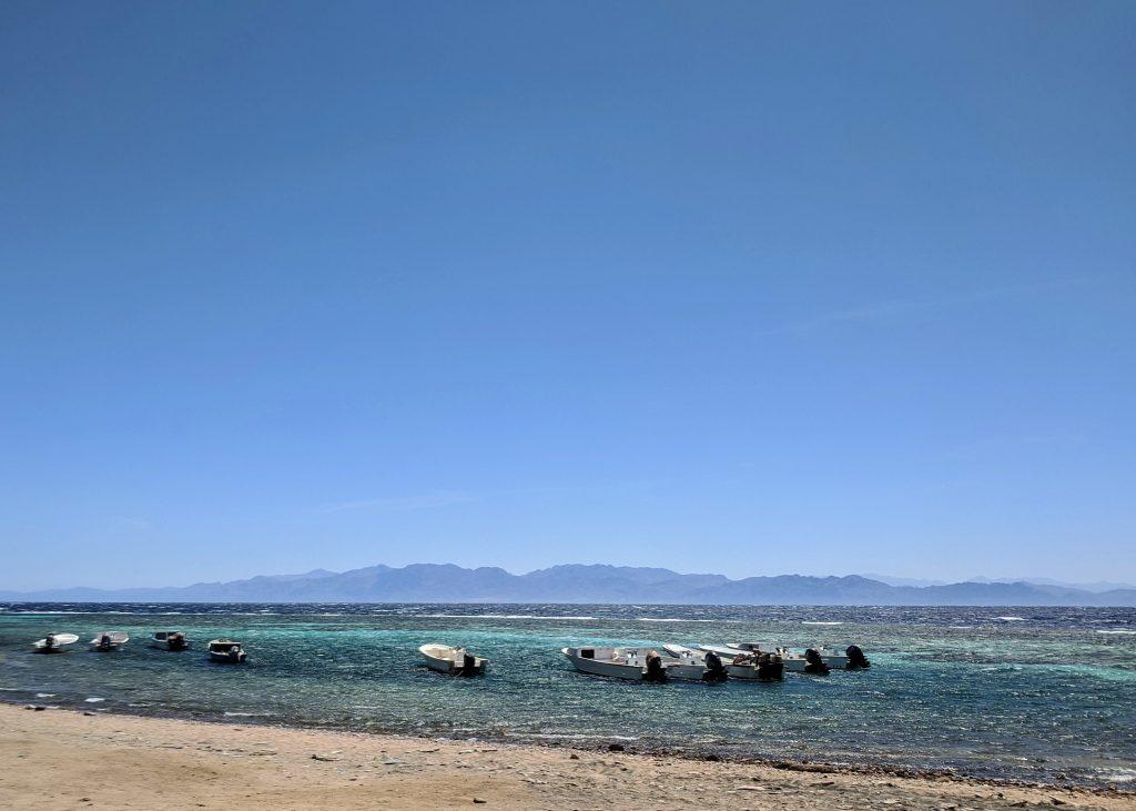 Speedboats at a beach