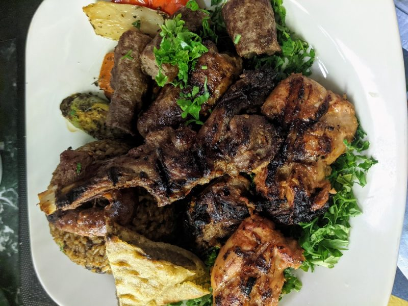 Mixed grill platter at an Egyptian restaurant